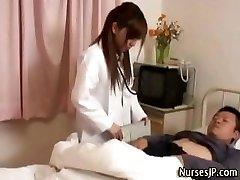 Lustful japanese nurse playgirl teases