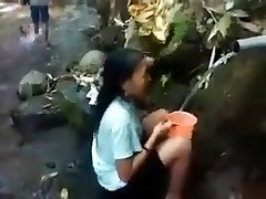 Indonesia girl outdoor nature douche