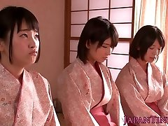 Slapped japanese nubiles queen dude while wanking him off