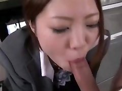 Asian office deep-throat