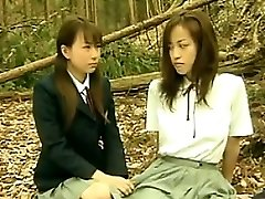 Crazy Asian Lesbians Outside In The Forest