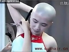 glorious girl armpits hair bald by barber with a straight razor.