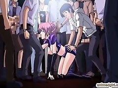 Beauty Chinese anime group sex in the public show