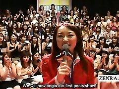 Subtitled CFNM Asian massive handjob oral event