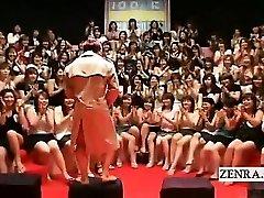 Subtitled CFNM Japanese monstrous handjob blowjob event