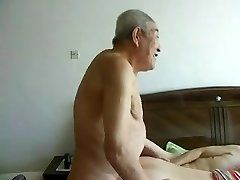 Awesome asian aged people having superb sex