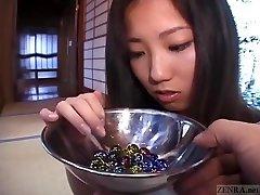 Subtitled Japanese CMNF student twenty marbles insertion