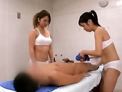 Subtitled CFNM Chinese sauna lady duo penis cleaning
