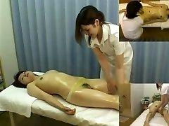 Massage covert camera films a nymph giving handjob