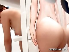 Stunning asian ginger-haired gets pussy licked on gloryhole