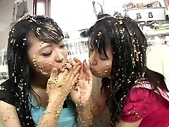 Subtitled extreme Japanese natto sploshing lesbians
