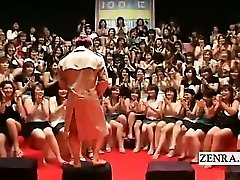 Subtitled CFNM Japanese meaty handjob blowjob event