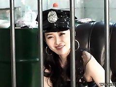 Japanese Femdom Prison Guard Strap Dildo