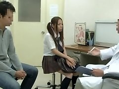Medical examination with warm Asian vixen being fucked by suspended doctor