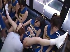 Horny Japanese cheerleaders in a steamy group fuckfest fuck for all