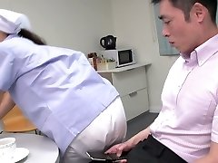 Cute Japanese maid flashes her fat tits while sucking 2 dicks (FMM)