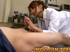 Asian nurse, Arisa Ebihara gives her patient a uber-sexy oral practice
