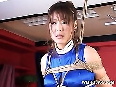 Corded asian knocked up sex slave gets huge tits rubbed