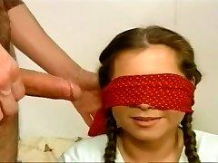 Blindfolded Tart Gobbles A Hard Wang