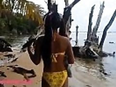 HD Ameteur Lil' Thai Teenager Heather Deep day at the beach gives suck Throatpie Swallow