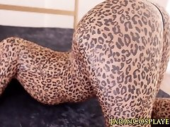 Flexible chinese cosplay stunner in leopard bodysuit creampied