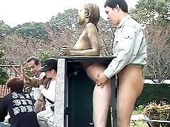 Cosplay Porno: Public Painted Statue Bang part 4