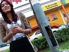 Sexy Thai girl eager for gigantic white man rod