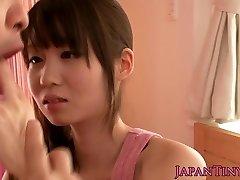 Smallish asian pornstar Yumeno Aika cumswapping