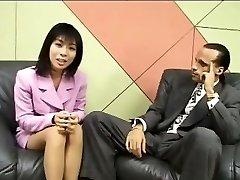Smallish Japanese reporter swallows cum for an dialogue