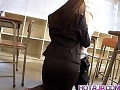Mei Sawai Japanese huge-titted in office suit gives hot blowjob at school