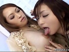 Asian lesbians playing with dildos