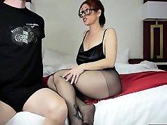 Hot mom footjob and cum-shot