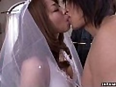 During her wedding she has to inhale on a hard wiener