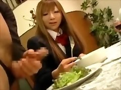 CFNM- Japanese rich girls torment male gimps at dinner
