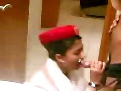 arab emirate steward cabin oral job before the flight