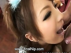 Asian college girl smoking small spear