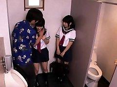 Asian schoolgirls threeway fuck with dude in wc