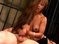 Gorgeous thin asian slut in high stilettos rides a big dick and gets jizzed on