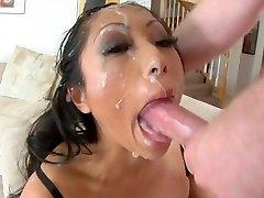 Asian cockslut deepthroat to facial