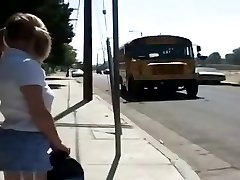 Pigtailed Blonde Drilled Her Pussy By Busdriver.