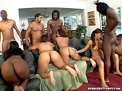 Bunch of big banging booties in wild orgy