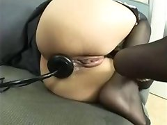 Tied up asian babe anally toyed and fucked