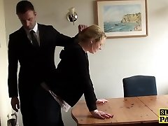 Throatfucked UK sub spanked until red wet