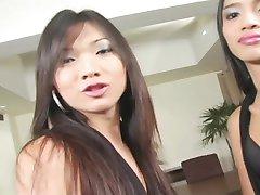 Asian Tgirl Threesome - Platinum X