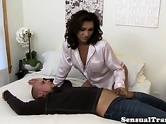 Dominant tgirl jizz on hubby after rough fuck