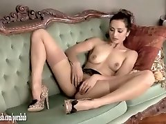 Hot brunette masturbates in mind-blowing leopard print high-heeled slippers and vintage nylons
