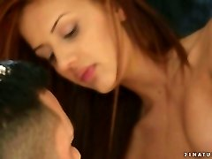 Romantic red haired stunner gives feetjob to her boyfriend early in the morning