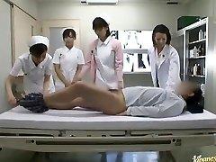 Horny Asian nurses take turns riding patient