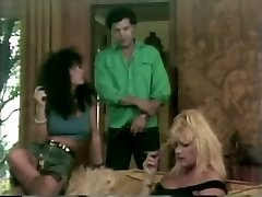 Blonde and dark haired retro sluts get fucked hard