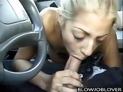 Melody Love gives blow-job in car